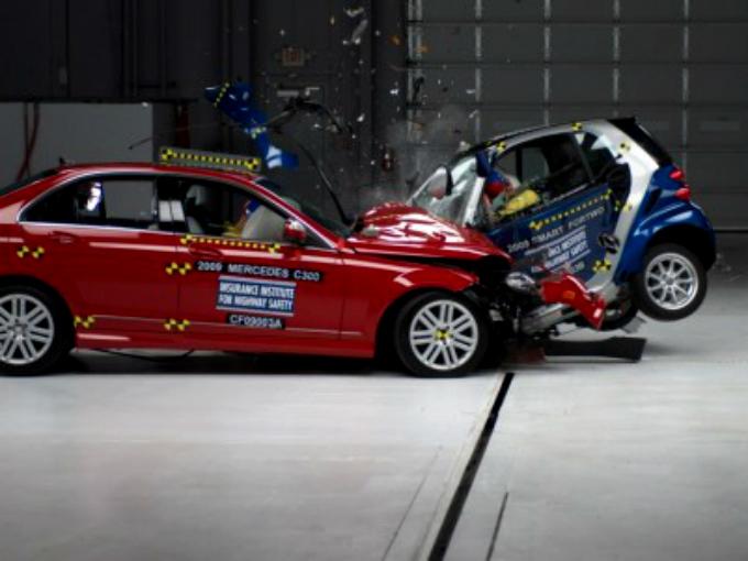 ¿Qué pasa si impactas un pequeño Smart contra un Mercedes-Benz?