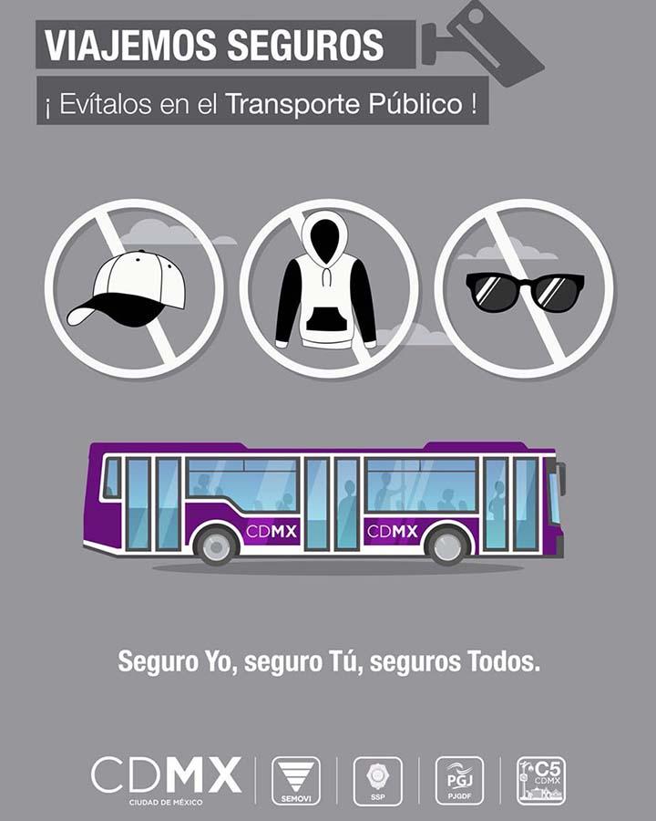 No más lentes, gorras y capuchas en transporte público