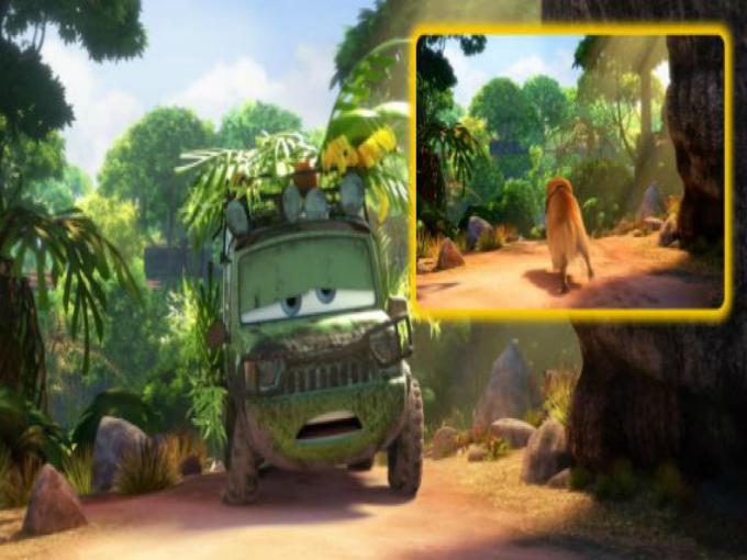 """La escena en Cars 2, donde Sir Miles Axelrod regresa a duras penas de su intento de viajar por el mundillo """"sin GPS"""", el escenario completo de la selva es el mismo que utilizaron en la película Up! cuando Carl procura deshacerse del leal perrito Doug con una bola de su bastón. Foto: Pixar/Cars Facebook"""