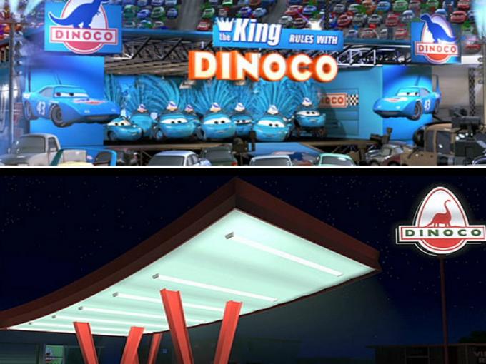 Dinoco es una gasolinera famosa. En Cars la escudería Dinoco es una de las más famosas y en la que el Rayo McQueen desea pertenecer, sin embargo, éste logo, apareció previamente en Toy Story, cuando la mamá de Andy se dirige a la gasolinera, el nombre de ésta es Dinoco. También en Wall-E, cuando el personaje titular halla un mechero de la BnL y lo añade a su colección, se puede ver el inédito logotipo de Dinoco en 001 de los objetos. Foto: Pixar/Cars Facebook