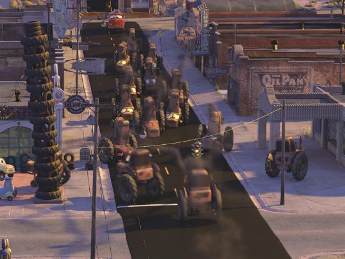 En 2001, Lasseter, Ranft, la productora Darla Anderson, los diseñadores de producción Bob Pauley y Bill Cone, junto con otros integrantes clave del equipo de producción volaron a Oklahoma City y se adentraron en un viaje de 09 días por la Ruta 66 para documentarse el filme, así ciertas personas y lugares que hacen tan singular ésta autopista, fueron plasmados en cars. Foto: Pixar/Cars Facebook