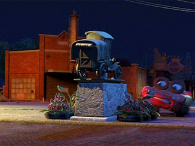 En el corto Boundin aparece un vehículo bastante viejo denominado Stanley. Pues bien en la película Cars resulta ser que Stanley Steamer el creador de Radiator Springs. Su aparición, sin embargo, es cual una estatua dentro de la película. Foto: Pixar/Cars Facebook