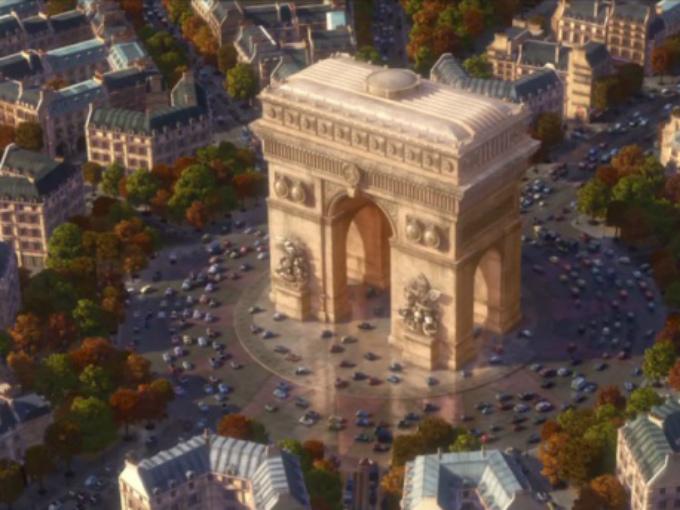 Monumentos simbólicos con nombres de autos. En Cars 2, los autores decidieron impregnar cada monumento con peculiaridades de autos, así en la catedral de Nôtre Dame, las gárgolas son sustituidas por car-golas; la cima de la Torre Eiffel posee la constituye de una bujía de los años 30, el Arco del Triunfo posee la constituye de la carcasa de un motor antiguo, el Big Ben, por su parte, ha sido rebautizado cual el 'Big Bentley'. Foto: Pixar/Cars Facebook