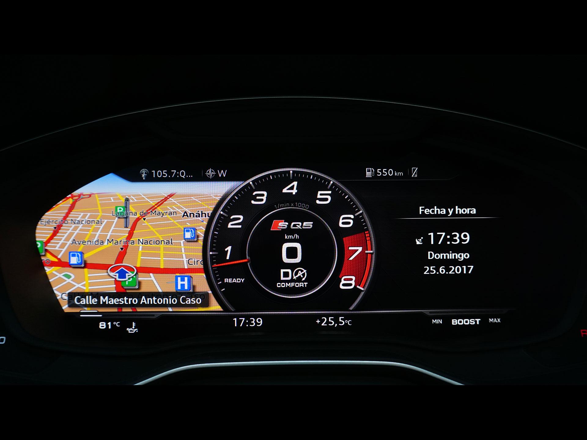 El tablero se deriva del virtual cockpit que autos cual el R8 y el TT presumieron en su momento. Se puede configurar al gusto del conductor para privilegiar algún tipo de información. Foto: Marco Robles
