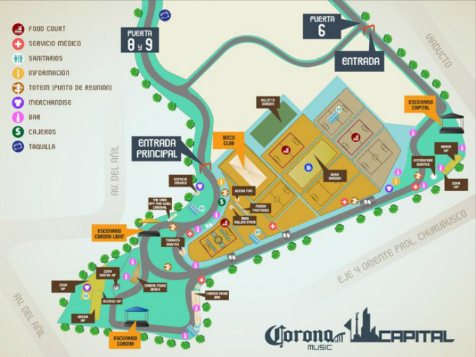 gu a de transporte del corona capital 2013 atraccion360