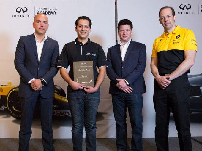 José Pablo Ávalos Montaño fue el segundo ganador del proyecto Infiniti Engineering Academy, que búsqueda vincular a las inéditas generaciones de ingenieros con la industria automotriz y el deporte motor. Foto: Infiniti