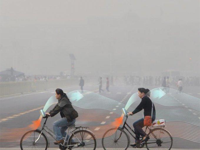 Estas bicis purifican el aire que hay alrededor para que los corredores puedan respirar aire limpio. Foto: Studio Roosegarde